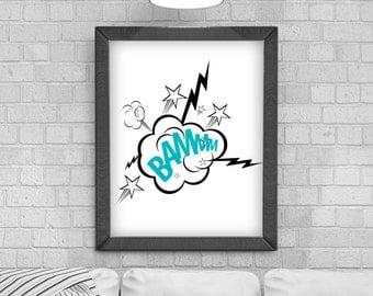 Digital Download 'Bammm' - Comic explosion Typography Poster, Printable Art, Instant Download, Wall Prints, Digital Art, Childrens Bedroom