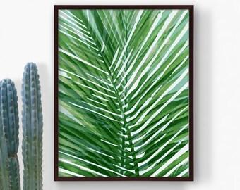 Printable Green Tropical Leaf Print, Palm Leaf, Forest Green Botanical Leaf, Summer Poster Art, Beach Nursery Art, Modern Art, Digital Print