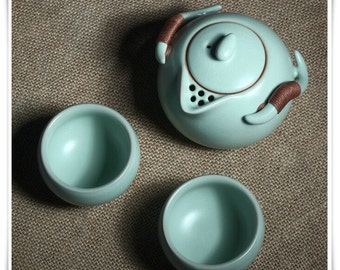 Chinese Porcelain Tea Set with Ru Ware Celadon Technique, China Travel  Tea Set Good Gift for Couple