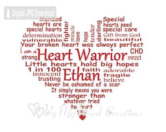 CHD Awareness Word Art, Heart Warrior Word Art, Baby Heart Word Art, Baby Keepsake, Personalized Word Art Typography, Printable DIGITAL FILE