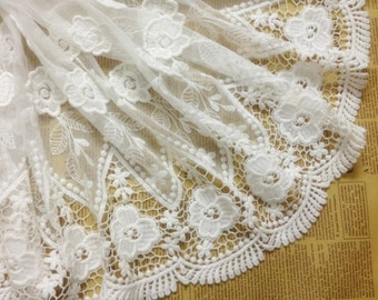 White Floral Lace Trim Cotton Embroidery Tulle Lace Trim 14.96 Inches Wide 1 Yard  X011
