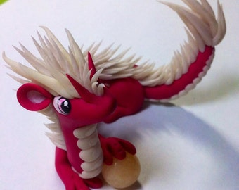 Pink and white oriental dragon
