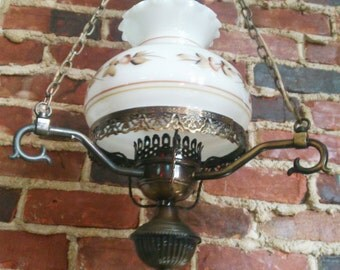 Antique pendant light, swag lamp, White Glass Globe Flowers Chain Vitage