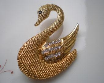 Vintage Swan Brooch Goldtone and Rhinestone c. 1950s