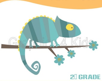 Chameleon - Birthday & School personalized printable label - Digital item