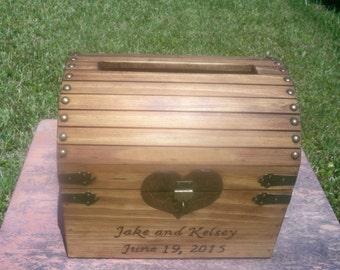 WEDDING CARD BOX, rustic wood card chest, lockable card box,  rustic wedding card chest, wood chest, wedding decor, country wedding