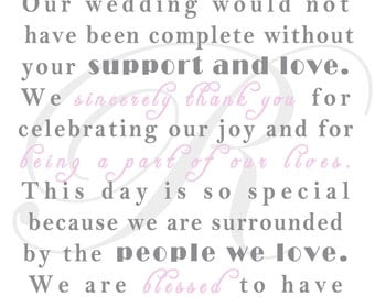 Wedding Thank You Card - Napkin Insert Cards or Wedding Favor
