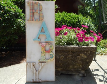 Nursery Distressed Baby Sign Nursery Wall Art Plaid, Floral, Stripe Sign for Baby Room Baby Shower Gift