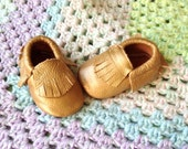 Champagne Leather fringe Moccasins, Baby Gift