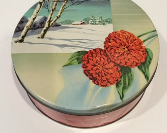 SALE! vintage round tin with winter scene and flowers