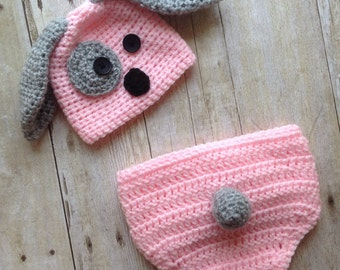 Newborn puppy hat, baby girl puppy hat, crochet puppy hat, photo prop, baby girl clothes, coming home outfit, newborn girl hat, pink