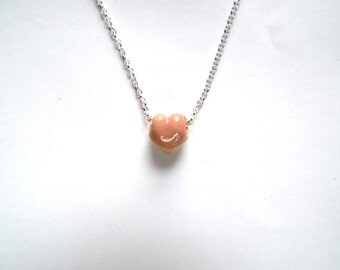 Porcelain peach on sterling silver 18'' chain