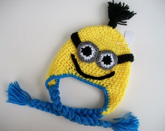 Crochet Hats Despicable Me MINIONs Character One or Two Eyed Braids and Earflaps, Beanie, Baby Shower  Handmade 3 Months to Adult
