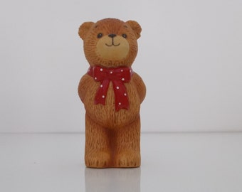 1980 Lucy and Me Porcelain Figurine Red Bow Bear with I Love You Valentine
