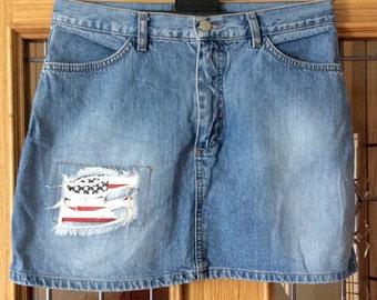 Vintage denim American flag skirt