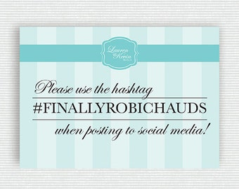 Breakfast at Tiffany's Themed Hashtag Sign for Wedding or Shower