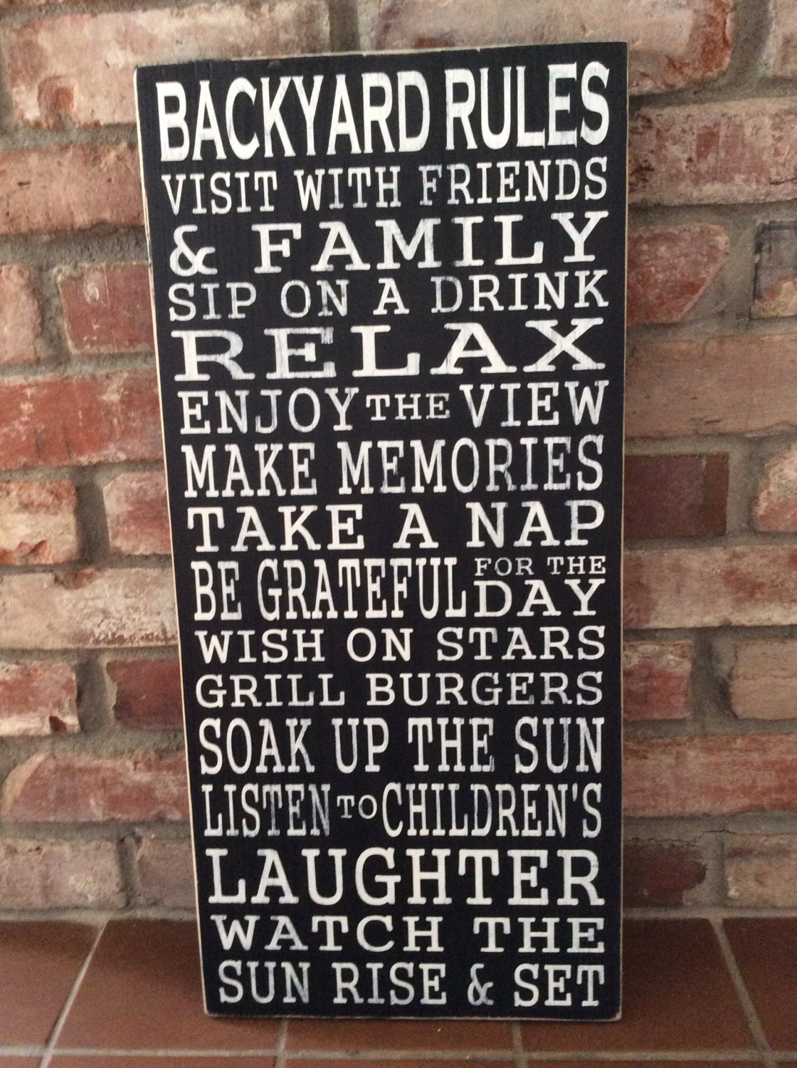 Backyard Rules Hand Painted Wood Sign Typography Also