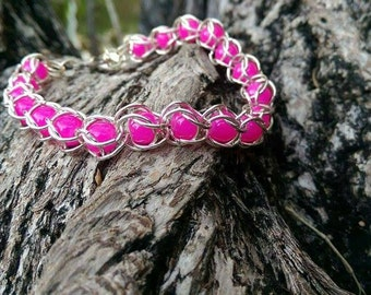 Hot pink chain maille bracelet