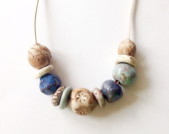 Ceramic necklace , Porcelain beads, Jewelry,  Boho style, Made to order