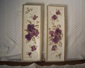 Pair Lefton Violets Wall Plaques