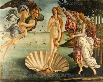 "Sandro Botticelli ""Birth of Venus"" Venus Angel Archangel Seashell 1485 Reproduction Digital Print"