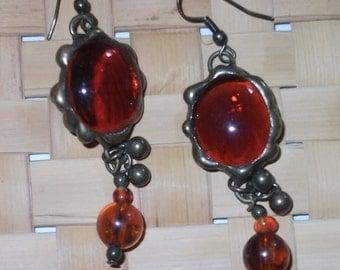 Amber Glass Earrings