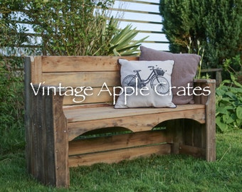 Rustic Garden Bench - Upcycled using genuine apple bins