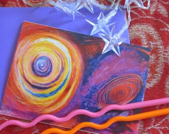 Galaxy Giclee greeting card in purples and oranges