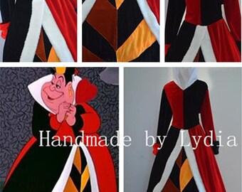 Handmade - Alice in Wonderland Red Queen Costume, Queen of Hearts Costume, Queen of Hearts Dress