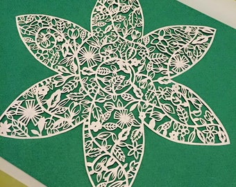 Doodle flower papercut template - personal and commercial use