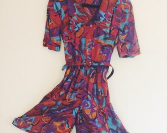 Abstract Printed Shorts Romper