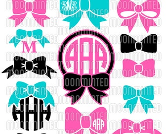 Bow SVG Cut Files - Monogram Frames for Vinyl Cutters, Screen Printing, Silhouette, Die Cut Machines, & More