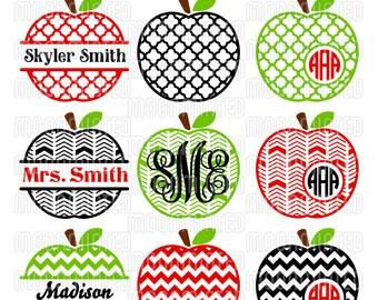 Apple Monogram Frames SVG Cut Files for Vinyl Cutters, Screen Printing, Silhouette, Die Cut Machines, & More