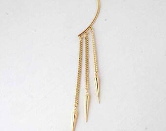 Gold ear cuff,long chain with gold spikes. Spike ear cuff, minimalist ear cuff UK seller