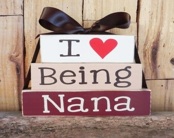 I Love Being Nana, Small Wood Blocks, Mother Day blocks, Wood sign, Grandma blocks, Nana Blocks, Nana, Love, Wood Blocks, Mimi, Grammy,