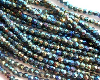 50 4mm Iris Green Czech glass beads, firepolished, faceted round beads, C5550