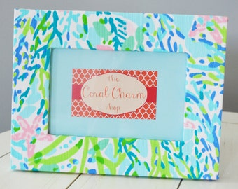Lilly Pulitzer Blue Heaven Fabric Wrapped Wooden Frame