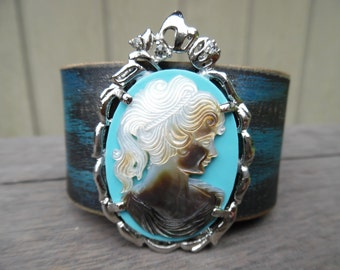 Silver Blue Black Distressed Shell Cameo Pendant Rhinestones Upcycled Leather Cuff Bracelet