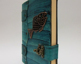 Leather journal notebook with Fish Emblem