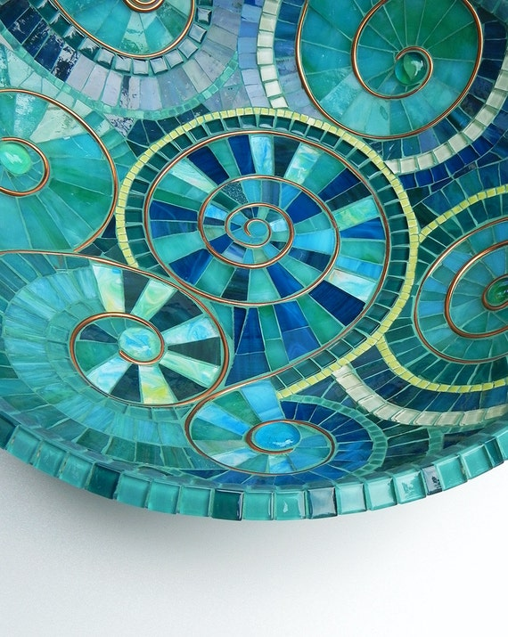 Mosaïque Art-bol de mosaïque Turquoise, plat agrémenté de cuivre ...
