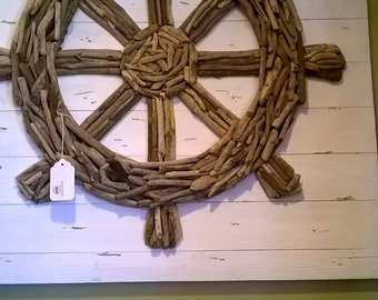 Ship Wheel Drift Wood Wall Art