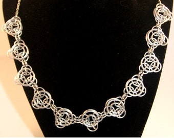 Silver Chainmaille Necklace - Aluminum - Axis of Awesome - Chainmail Jewelry