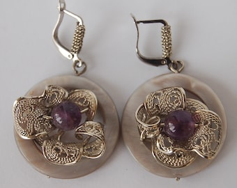 Earrings of German silver with pearl and amethyst, handmade