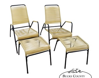 Mid Century Modern Pair Of Yellow Vinyl Strap Patio Chaise Lounge Chairs W/  Ottomans