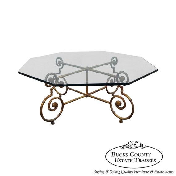 Italian Gold Gilt Iron And Glass Faux Bamboo Metal Square: Gilt Metal Faux Bamboo Glass Top Coffee Table