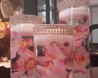 Set of 3 Cylinder Vases with Floating Candles and mirror