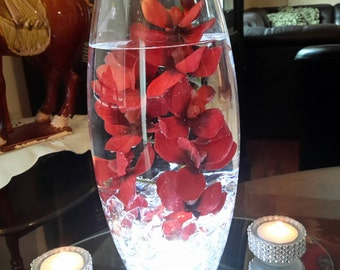 Beautiful Lighted  Floating Floral Orchid Centerpiece with Bling Tealights and Mirror