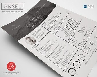 ansel photoshop psd resume template instant download photographer designer cv - Photographer Resume