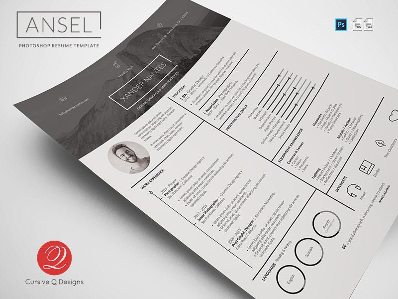 ansel photoshop psd resume template instant download photographer designer cv