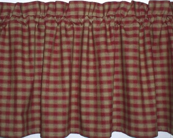 Berry Checked Plaid Homespun Valance Americana Cabin USA Primitive Country Curtains Country Red Check Tiers
